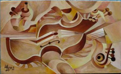 Absztrakt hegedű fekvő 11