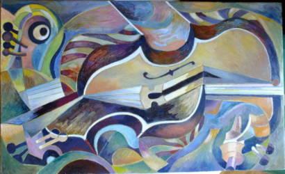 Absztrakt hegedű fekvő 8