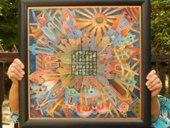 Kerámia tál festmény (50x50)