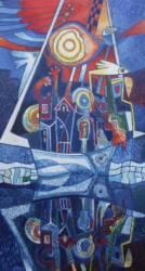 Hajó a Lágymányosi öbölbe (50x110)