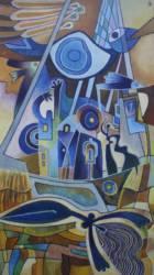 Szellemhajó kékes (50x110)