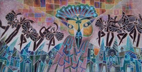 Madaras kép fekete tündérekkel (70x150)