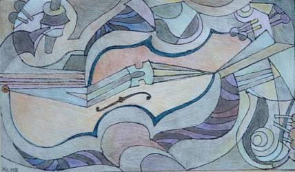 Absztrakt hegedű fekvő 2