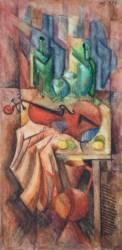 Kubista csendélet hegedűvel üvegekkel (15x30)
