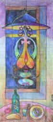 Petróleum lámpa (30x15 színes ceruza papír)
