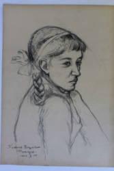 Kislányportré ceruzarajz