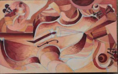 Absztrakt hegedű fekvő 5