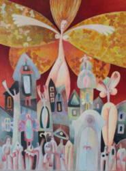 Angyal a város felett arany szárnyakkal (60x90)