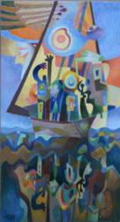 Hajós kép hullámzó vízzel (50x110)