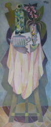 Teáskannás csendélet paszterszínekben (30x90)