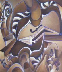 Barna hegedűs (50x50 olaj)