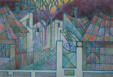 Vasgerebeni utcarészlet (20x30 papír színes ceruza)