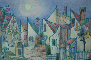 Erzsébet utca (20x30 papír színes ceruza)