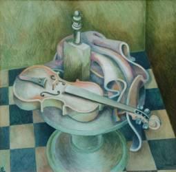 Kerámia hegedűs kockakövön (70x70)