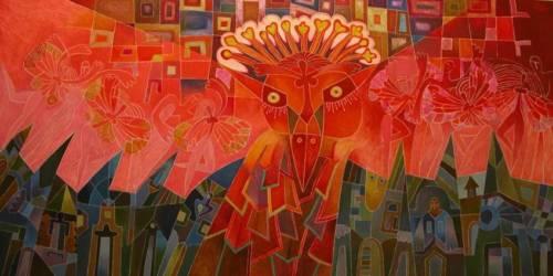 Piros madaras (150x75)