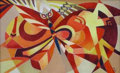 Absztrakt lepke vörösben (45x70)
