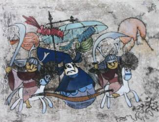 Japán meseillusztráció 1 (30x40 monotípia aqvarell)