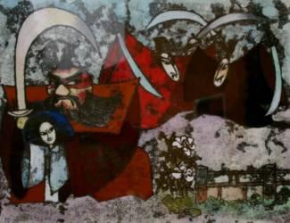 Japán meseillusztráció 3 (30x40 monotípia aqvarell)