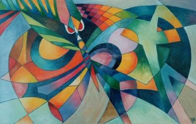 Absztrakt lepke színesben (45x70 olaj)