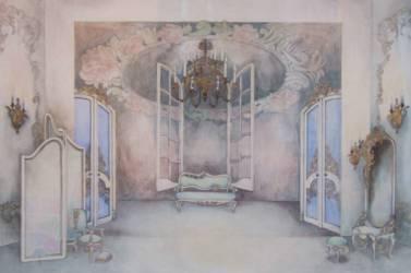 Figaro házassága díszletterv (42x59,4 papír vízfesték)