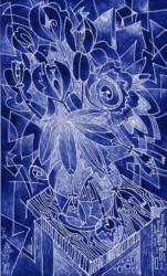 Virág grafika kék brakkos linó