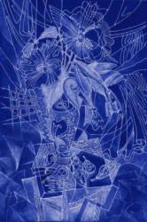 Virág grafika kék linó