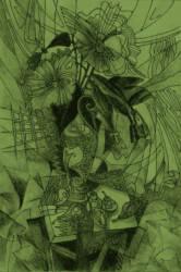 Virág grafika zöldes brakos inverz